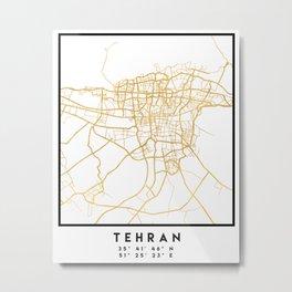 TEHRAN IRAN CITY STREET MAP ART Metal Print