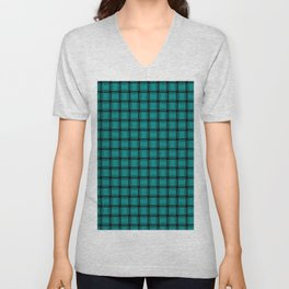 Small Dark Cyan Weave Unisex V-Neck