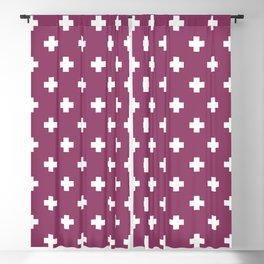White Swiss Cross Pattern on Purple background Blackout Curtain