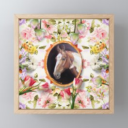 Wedding horse and tulips Framed Mini Art Print