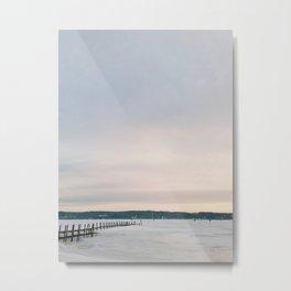 Sunset over Frozen Lake Metal Print