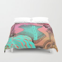 Vintage Turquoise Corset and Roses Duvet Cover