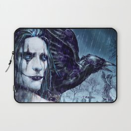 Crow in the Rain Laptop Sleeve