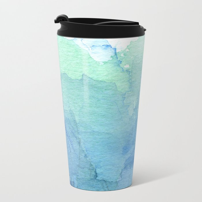 Abstract Watercolor Texture Blue Green Sea Sky Colors Metal Travel Mug