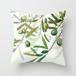 Green Olive watercolor painting Throw Pillow