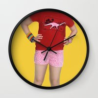 abigail larson Wall Clocks featuring Little Miss Sunshine - Olive - Abigail Breslin by Derek Donovan