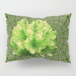 Lime Flowers & Green Irish Roses Optical Art Pillow Sham