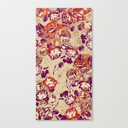 painterly roses in warm hues Canvas Print