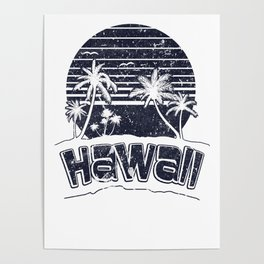 Hawaii Sunset Beach Vacation Paradise Island Black Poster