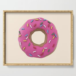Who Wants a Donut - Pink & Tan Serving Tray