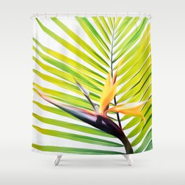 Bird of Paradise and Palm Frond Shower Curtain