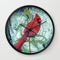 virginia Wall Clocks featuring Virginia Cardinal by ArtLovePassion