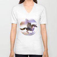 runner V-neck T-shirts featuring Galaxy Runner by elfengamez