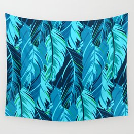 Blue Feathers of A Sweet Dream Wall Tapestry