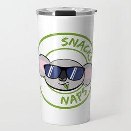 """""""Eat Snacks Take Naps"""" T-shirt Design Certified Koala Lover? Perfect Gift For Any Animal Lovers Travel Mug"""