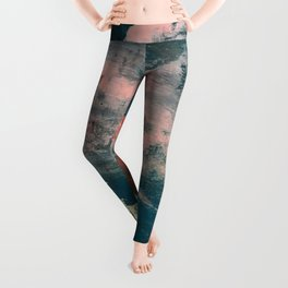 Lighthouse: a bold, mixed-media abstract piece in blues, pink, and gold Leggings