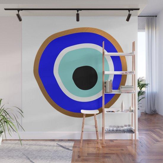 Grecian Gold evil eye in blue on white by medesignstudio