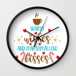 Warm Wishes And Marshmallow Kisses Wall Clock