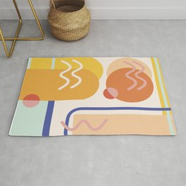 Modern Abstract Shapes Midcentury Art Rug