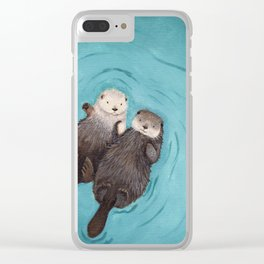 Otterly Romantic - Otters Holding Hands Clear iPhone Case