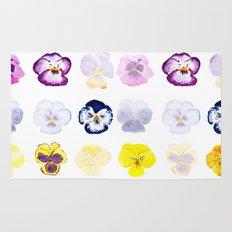 colorful pansies watercolor painting Rug