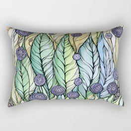 Dandelions.Hand draw  ink and pen, Watercolor, on textured paper Rectangular Pillow