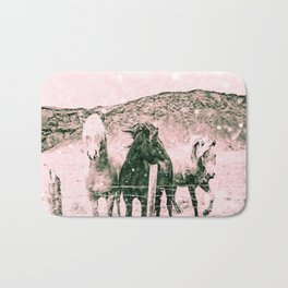 Southwest Horses Black and White Bath Mat