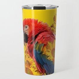 TROPICAL BLUE MACAW & MONARCH BUTTERFLIES SUNFLOWER ART Travel Mug