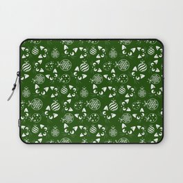 Christmas Cats and Ornaments (Green and White) Laptop Sleeve