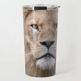 Closeup Portrait of a Male Lion Travel Mug