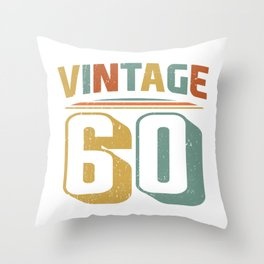 Vintage 60th Birthday Gift Design Throw Pillow