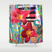 lily Shower Curtains featuring Lily by Crystal Manning