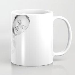 Nude woman swimming in milk, black and white Coffee Mug