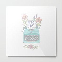 Seize The Day Typewriter Pastels Metal Print