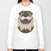 otters Long Sleeve T-shirts featuring Ornate Otter by ArtLovePassion