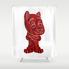 Tiki Dog Shower Curtain