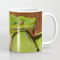 monty python Mugs featuring Green Tree Python by Photography by LutzPeter