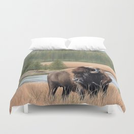 American Bison Painting Duvet Cover