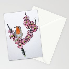 Robin And Peach Blossoms Stationery Cards