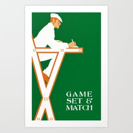 Game set and match retro tennis referee Art Print