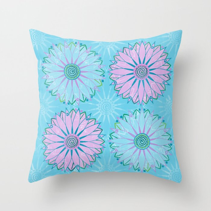 Boho Floral (Blue Background) by lalalamonique Throw Pillow