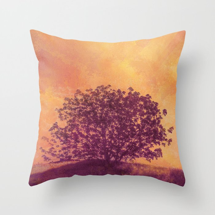 Red Violet Lone Tree and Fall Sunlight Throw Pillow