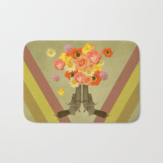 In my world, flowers come out of guns Bath Mat