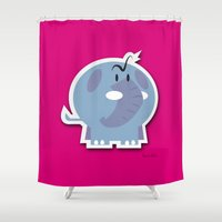 quibe Shower Curtains featuring Angry Elefant by quibe