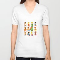 street fighter V-neck T-shirts featuring 8 Bit Street Fighter by thedoormouse