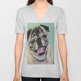 Portrait of Pug on Teal Unisex V-Neck