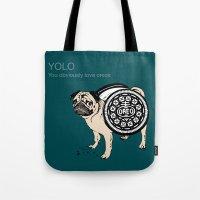 yolo Tote Bags featuring YOLO by Huebucket