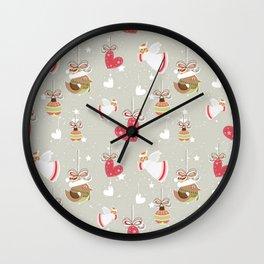 Christmas Elements Design Pattern 2 Wall Clock