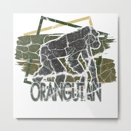 Oran Utan Monkey Ape Gift Animal Nature Metal Print