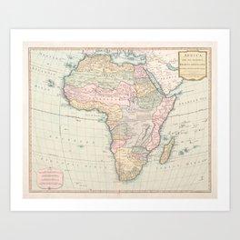 Vintage Africa Map (1800) Vintage African Continent Atlas Art Print
